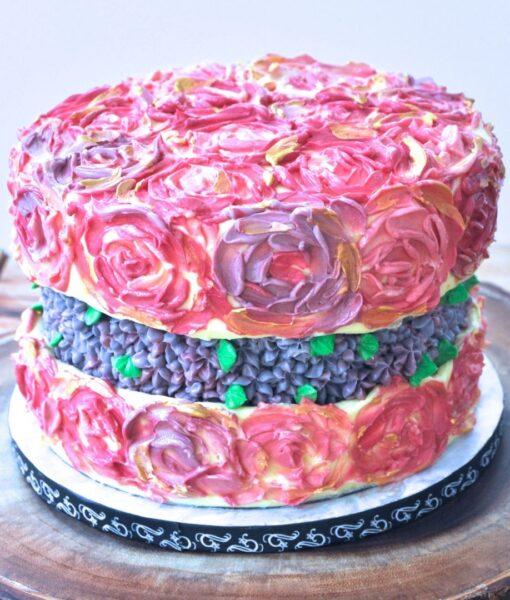 Fault line Cake tutorial with painted rosettes